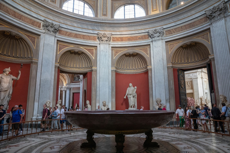 Rome, Italy - June 22, 2018: Panoramic view of interior and architectural details of the gallery of Vatican Museum