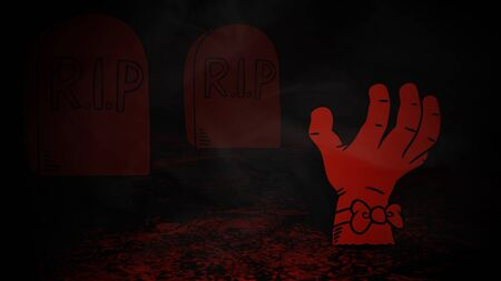Halloween background with the hand in cemetery. Happy holiday abstract backdrop. Luxury and elegant style 3D illustration for holiday template