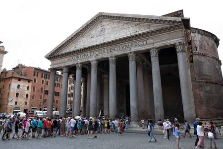 Rome, Italy - June 21, 2018: Panoramic view of exterior of the Pantheon, also known as temple of all the gods. It is a former Roman temple, now a church in Rome Reklamní fotografie