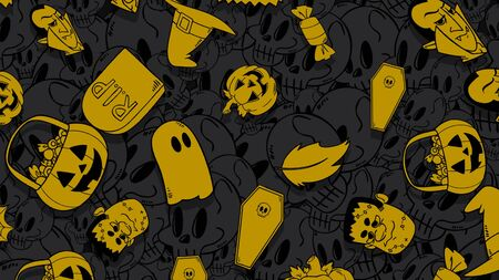 Halloween background with the pumpkins, skulls, coffins, ghosts. Happy holiday abstract backdrop. Luxury and elegant style 3D illustration for holiday template