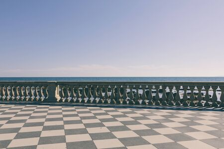 Panoramic view of Terrazza Mascagni (Mascagni terrace) in front of the Ligurian sea on the western coast of Tuscany in Livorno Stock Photo