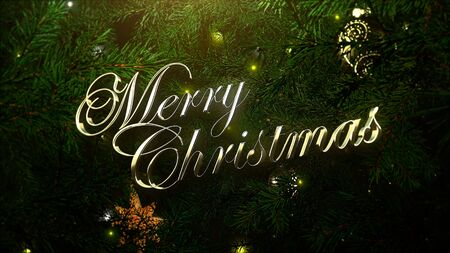 Merry Christmas text, colorful balls and green tree branches on shiny background. Luxury and elegant dynamic style 3D illustration for winter holiday