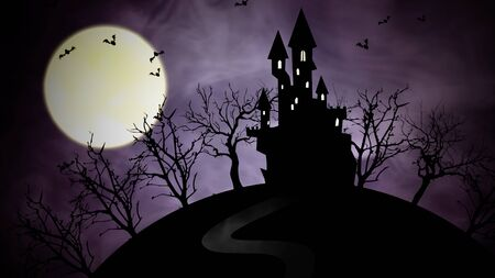 Halloween background with the castle and moon in 3D illustration.