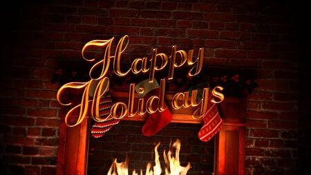 Closeup fireplace, gifts in the Christmas socks and Happy Holidays text on bricks background. Luxury and elegant dynamic style 3D illustration for winter holiday Stock Photo