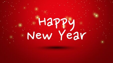 Happy New Year text on red background.