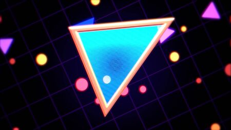 Retro triangle abstract background with noise and distortion. Elegant and luxury 80s, 90s style 3D illustration Stock Photo