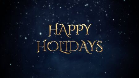 Happy Holidays text, white snowflakes on blue background. Luxury and elegant dynamic style 3D illustration for winter holiday Stock Photo