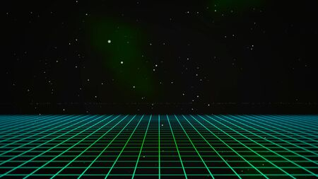 Retro lines and grid in space, abstract background. Elegant and luxury 80s, 90s style 3D illustration Stock Photo