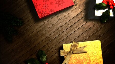Closeup gift boxes and green tree branches on wood background. Luxury and elegant dynamic style 3D illustration for winter holiday Stock Photo