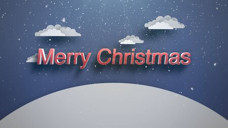 Closeup Merry Christmas text, mountains and snowing landscape. Luxury and elegant dynamic style 3D illustration for winter holiday