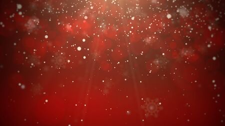 White snowflakes on red background. Luxury and elegant dynamic style 3D illustration for winter holiday Stock Photo