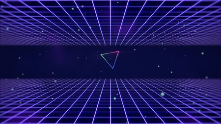 Retro lines and grid in space, abstract background. Elegant and luxury 80s, 90s style 3D illustration 写真素材