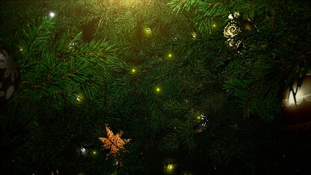 Closeup colorful balls and green tree branches on shiny background. Luxury and elegant dynamic style 3D illustration for winter holiday