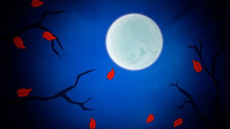 Halloween background with the leaves and moon.