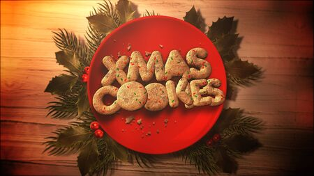 Xmas text text, candy and Christmas pie on wood background in 3D illustration. Stock Photo