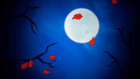 Halloween background with the leaves and moon in style 3D illustration. Stock Photo