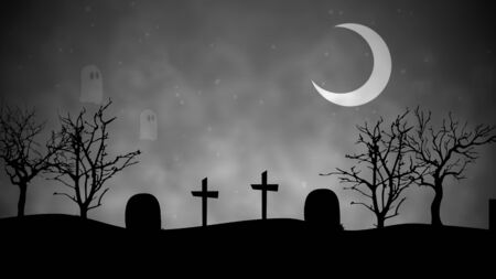 Halloween background with the ghosts in cemetery in 3D illustration .