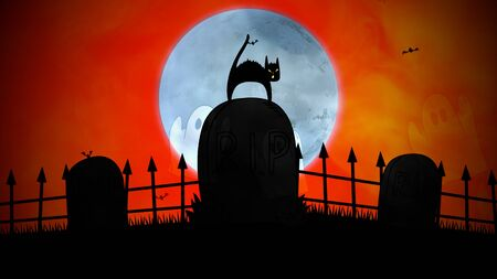 Halloween background with the cat on grave in style 3D illustration.