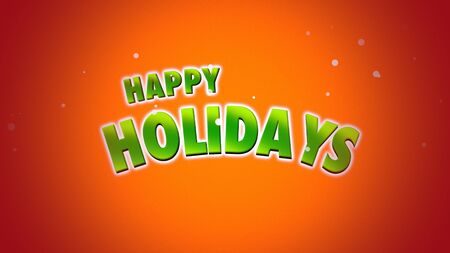 Happy Holidays text on orange background.