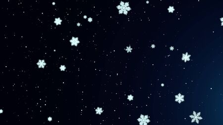 White snowflakes and abstract particles falling.