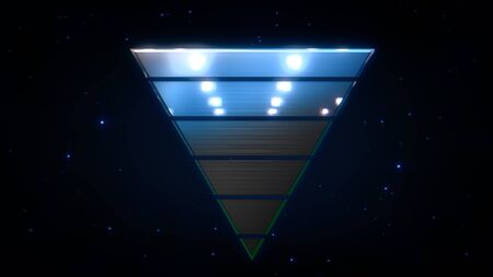 Retro triangle abstract background with noise and distortion in style 3D illustration. Stock Photo