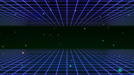 Retro lines and grid in space, abstract background in style 3D illustration. Stock Photo