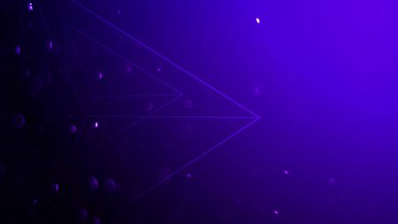 Geometric shape with particles in space, abstract background. Elegant and luxury dynamic geometric style for business, 3D illustration Stock Photo