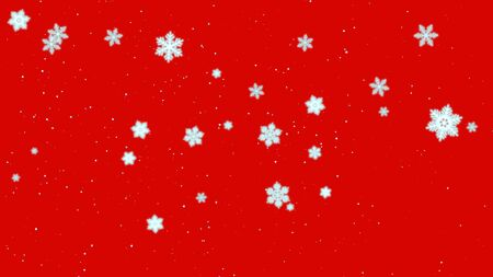 White snowflakes and abstract particles falling in style 3D illustration.