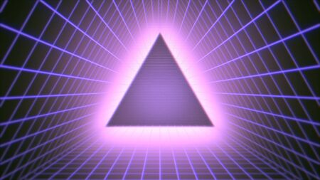 Retro triangle in space, abstract background in style 3D illustration. Stock Photo