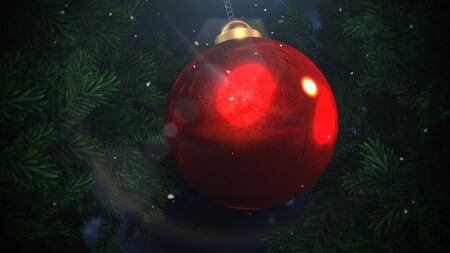 Closeup white snowflakes and red balls on green branches background in style 3D illustration.