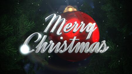Closeup Merry Christmas text and white snowflakes, red balls on dark background in style 3D illustration. Stock Photo