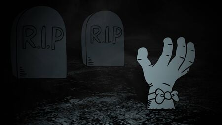 Halloween background with the hand in cemetery in style 3D illustration.