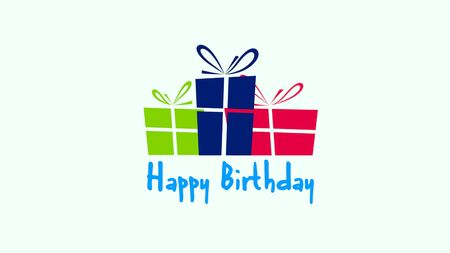 Closeup Happy Birthday text on white background. Luxury and elegant style 3D illustration for holiday Stock Photo