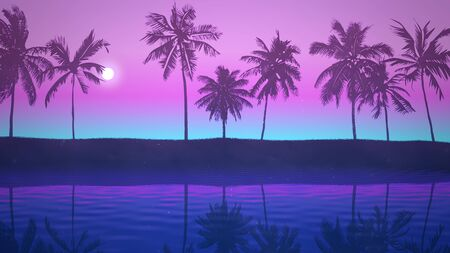 Panoramic view of tropical landscape with palm trees and sunset, summer background in style 3D illustration.