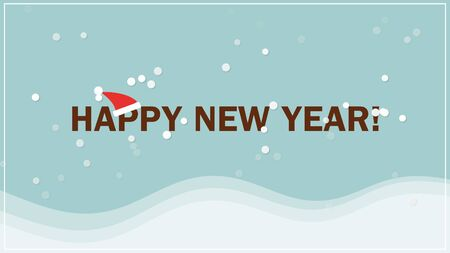 Happy New Year text on snow background. Luxury and elegant dynamic style 3D illustration for winter holiday 写真素材
