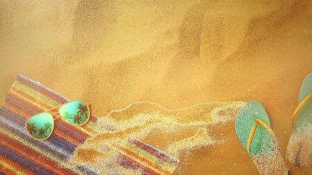 Closeup sandy beach with sandal and glasses, summer background in style 3D illustration.