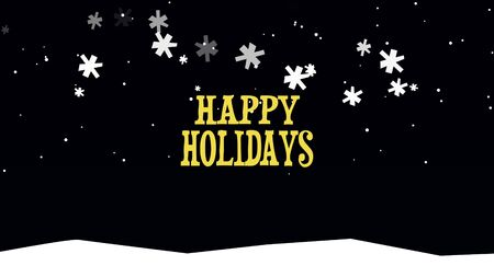 Happy Holidays text on snow background. Luxury and elegant dynamic style 3D illustration for winter holiday