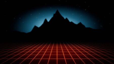 Retro abstract background, red grid and mountain in style 3D illustration.