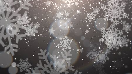 White snowflake falling. Happy New Year and Merry Christmas shiny background. Luxury and elegant dynamic style 3D illustration for winter holiday