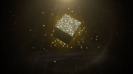 Closeup Christmas gift boxes on shine background in style 3D illustration. Stock Photo