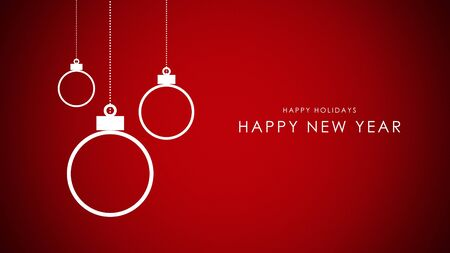 Happy New Year and Happy Holidays text, white balls on red background. Luxury and elegant dynamic style 3D illustration for winter holiday 写真素材