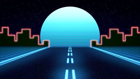 Retro abstract background, red road and city in style 3D illustration.