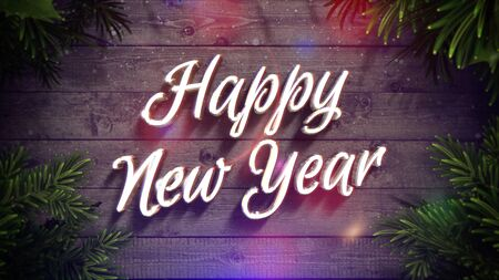 Happy New Year text, colorful garland and green Christmas branch on wood background in style 3D illustration.