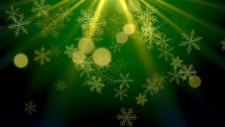 White snowflakes, stars and abstract bokeh particles falling. Happy New Year and Merry Christmas shiny background. Luxury and elegant dynamic style 3D illustration for winter holiday Stock Photo