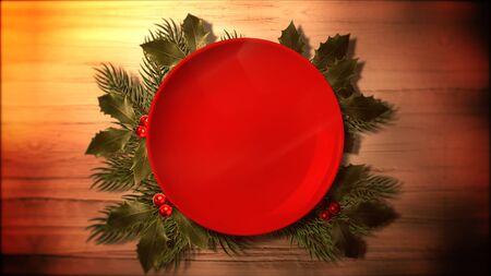 Closeup Christmas green tree branches and plate for candy on wood background in style 3D illustration.
