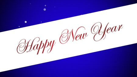 Happy New Year text on blue background. Luxury and elegant dynamic style 3D illustration for winter holiday