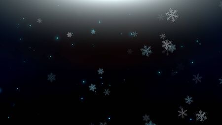 White snowflakes and abstract particles falling. Happy New Year and Merry Christmas shiny background. Luxury and elegant dynamic style 3D illustration for winter holiday Banco de Imagens