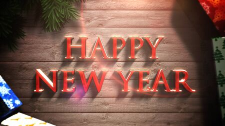 Happy New Year text, gift boxes and green tree branches on wood background. Luxury and elegant dynamic style 3D illustration for winter holiday Banco de Imagens
