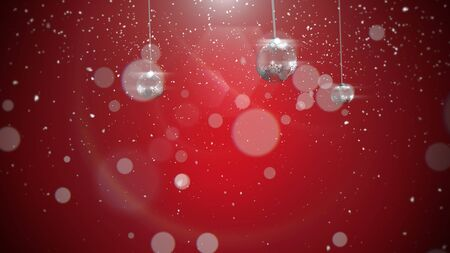 Closeup silver balls and snowflakes on red background. Luxury and elegant dynamic style 3D illustration for winter holiday