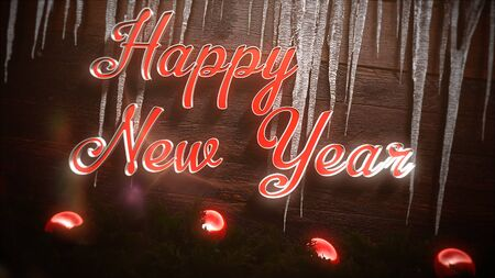 Happy New Year text, red balls and icicles on wood background. Luxury and elegant dynamic style 3D illustration for winter holiday Banco de Imagens